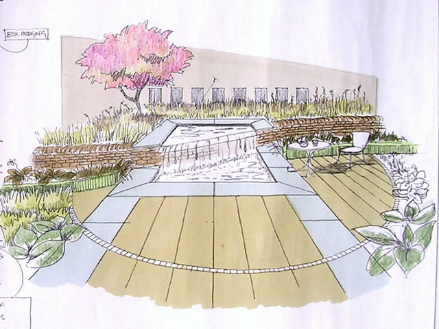 Garden water feature lighting design masterplan yorkshire for Garden design sketches