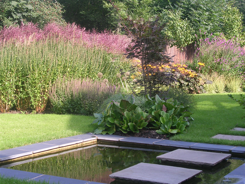 large garden design landscaped water feature near leeds yorkshire - Garden Design Knaresborough