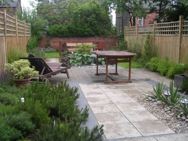 Garden layout designs small large courtyard gardens - Garden design terraced house ...