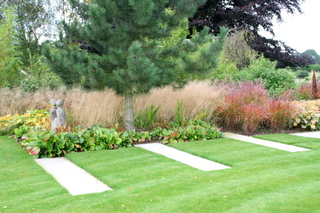 Garden landscaping large garden by Paperbark Garden Design Wetherby stepping stones path and pine