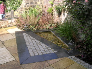 water feature in landscaped garden near Leeds