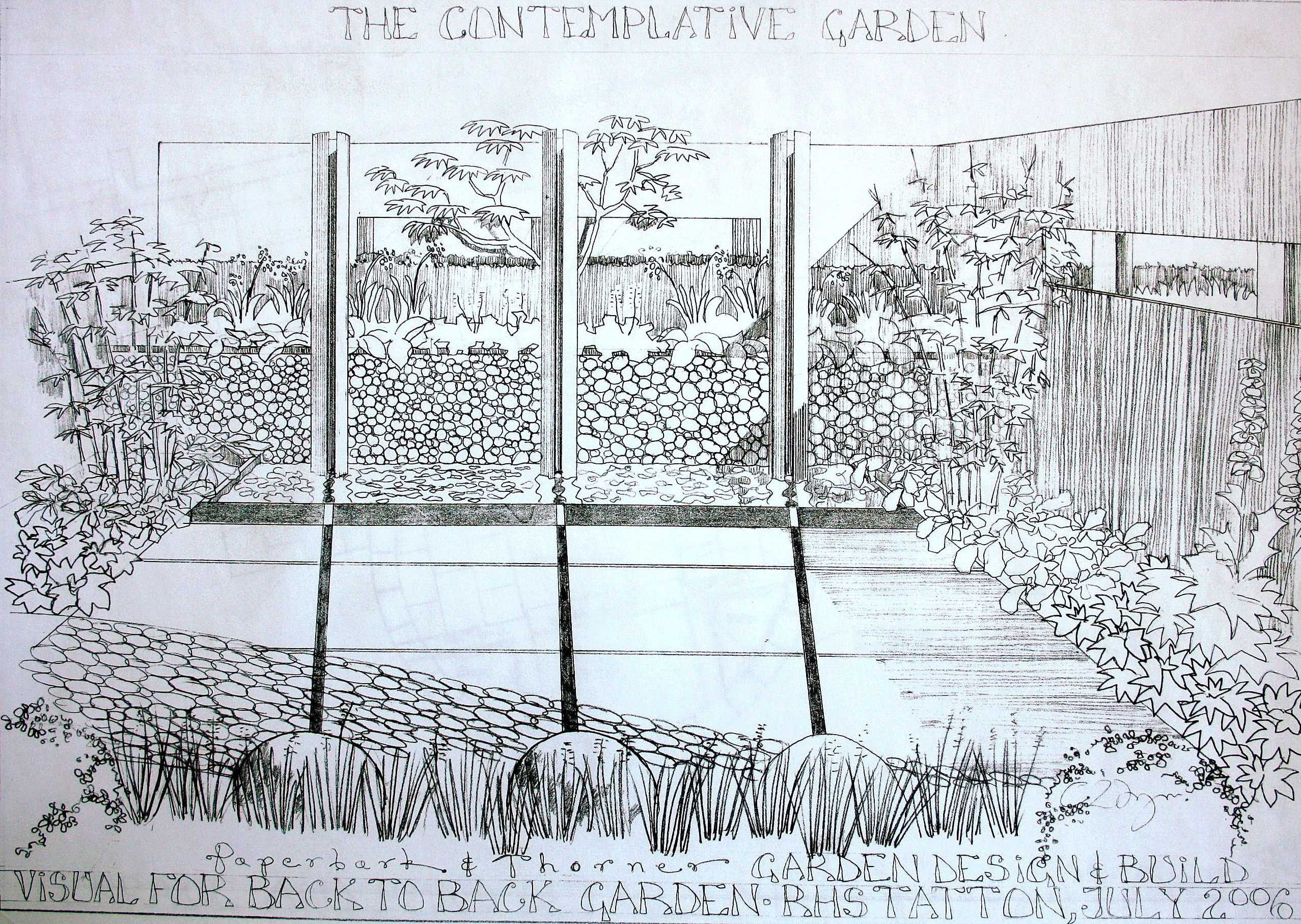 sketch for landscaped garden at RHS Tatton by Paperbark