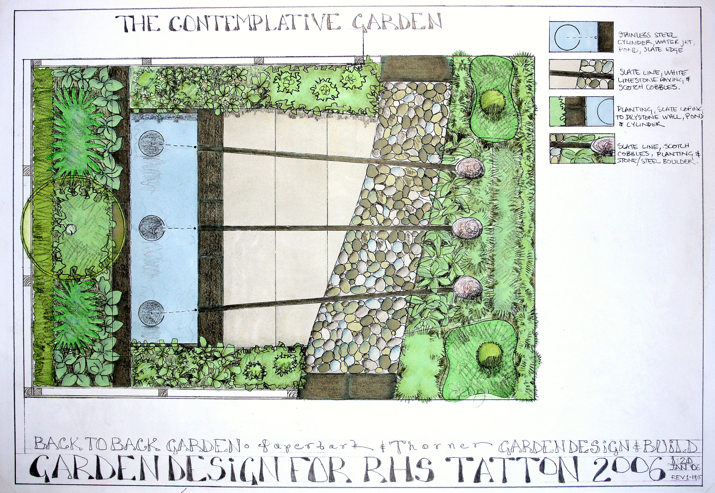 plan for landscaping garden at Tatton RHS show by Paperbark