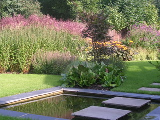 garden landscaping water feature in large Yorkshire garden by Paperbark Garden design