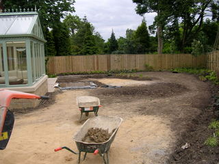 garden landscaping with prairie planting for garden in Leeds the build stage