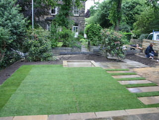 Garden landscaping works at Edwardian terrace garden by Paperbark Garden Design in Yorkshire
