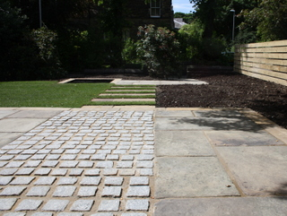 Garden landscaping progress at Edwardian terrace garden by Paperbark Garden Design in Yorkshire