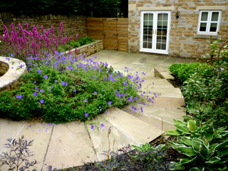 garden landscaping for courtyard at denby dale near wakefield indian stone steps