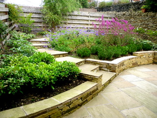 garden landscaping steps for courtyard garden in denby dale near wakefield