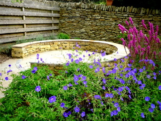 circular seating in stone garden landscaping at denby dale near wakefield