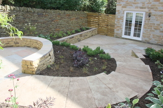 garden landscaping for courtyard at denby dale near wakefield planting complete