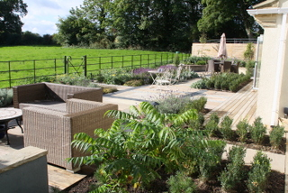 garden after landscaping to an outdoor dining and lounge terrace garden at wetherby