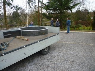 garden sculpture arriving on site at garden in Wetherby Yorkshire