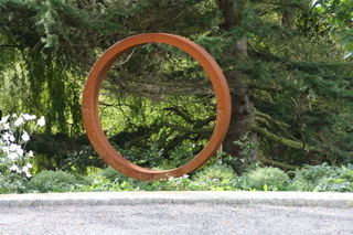 steel ring garden sculpture in front garden Yorkshire
