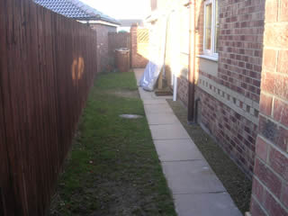 Side Passage Garden Before Design and Build at Leeds, West Yorkshire