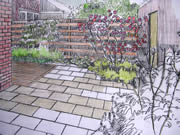 Garden Design Sketch Ideas for a courtyard garden in Harrogate, Yorkshire.