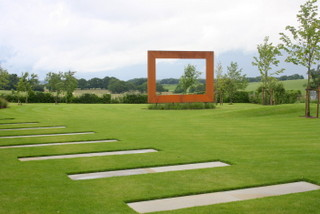Garden Frame Steel Sculpture Design in a garden near Wetherby in Yorkshire by Paperbark Garden Design