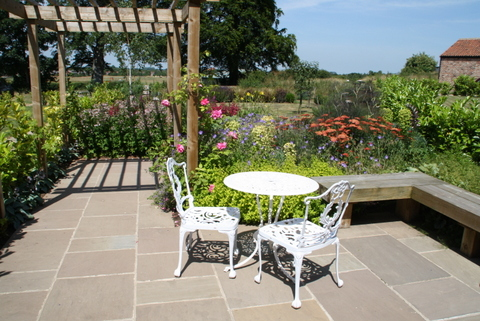 Long Country Garden After Design near Selby in North Yorkshire.