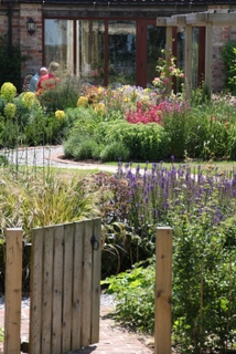 cottage garden landscape planting in Yorkshire by Paperbark garden design open gate and salvia