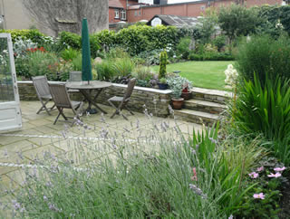 landscape gardening to large rear garden at Chapel Allerton, Leeds by Paperbark garden desgin