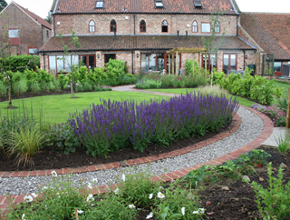 Large Long Country Garden After Design near Selby, North Yorkshire.