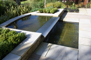 Garden Water Feature with Steel Spill at Wetherby, Yorkshire