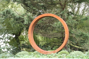 steel hoop sculpture for front garden near Wetherby by Paperbark garden design