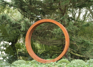 Steel hoop sculpture for front garden design
