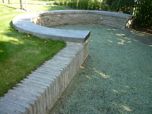 Garden Walling for a seating area and boules court wetherby yorkshire