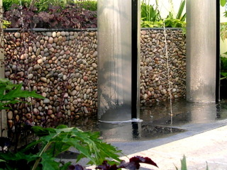 garden landscaping show garden at RHS Tatton by Paperbark Garden Design wall