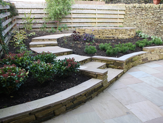 garden landscaping for a courtyard garden in Denby Dale, Wakefield by Paperbark Garden Design